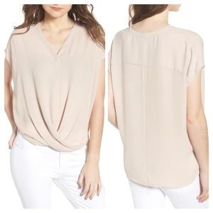 Trouve Drape Front Top Size Large in Beige